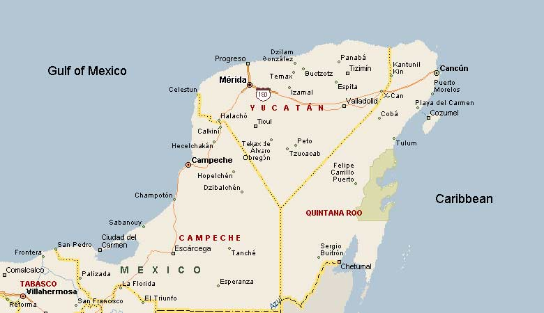 a map of yucatns peninsula is available here a